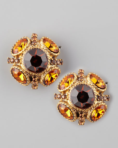 Crystal Stud Earrings, Golden