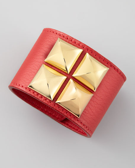 Leather Pyramid Cuff, Ruby