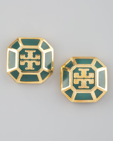 Rylan Logo Earrings, Malachite
