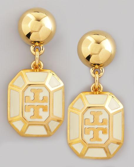 Rylan Logo Drop Earrings, Ivory