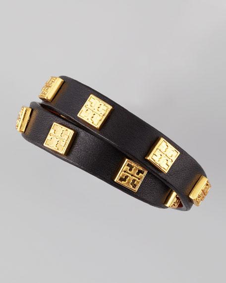 Square Logo-Studded Wrap Bracelet, Black