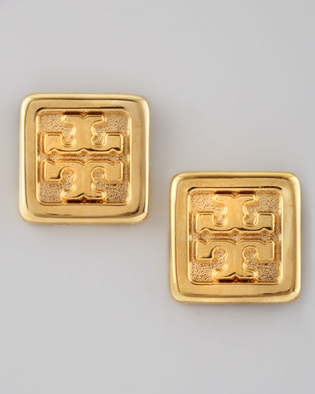 Square Logo Stud Earrings