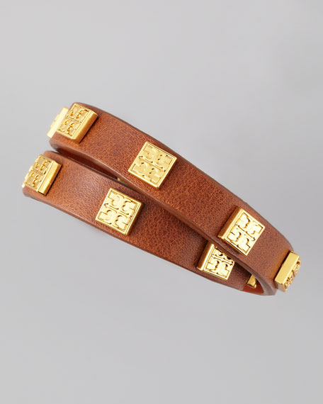 Square Logo-Studded Wrap Bracelet, Brown