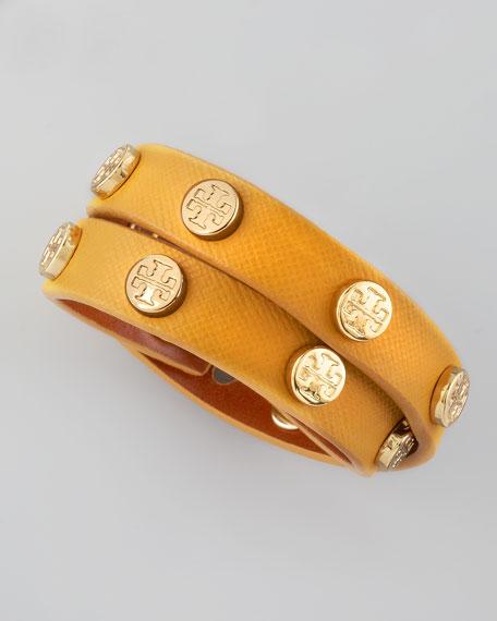Logo-Studded Saffiano Wrap Bracelet, Golden