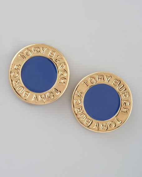 Cole Logo Stud Earrings, Blue