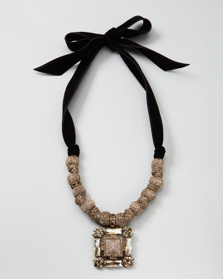 Lurex-Bead Pendant Necklace