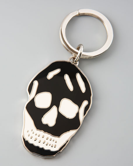 Enamel Skull Key Ring, White/Black
