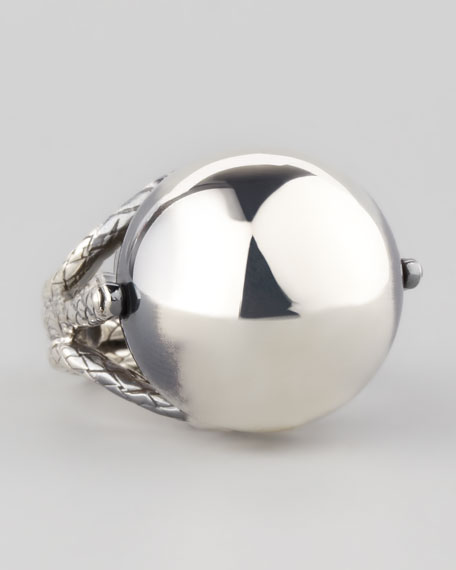 Rolling Silver Sphere Ring
