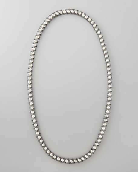 Long Silver Ball Necklace