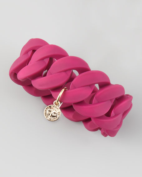 Katie Wide Rubber Turnlock Bracelet, Wine