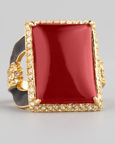 Square Ring, Red Quartz