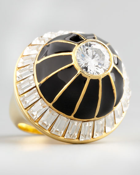 Crystal Dome Ring, Black