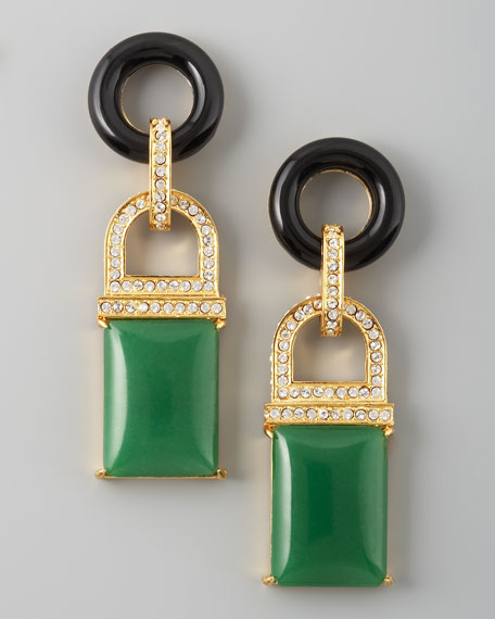 Drop Earrings, Green Quartz