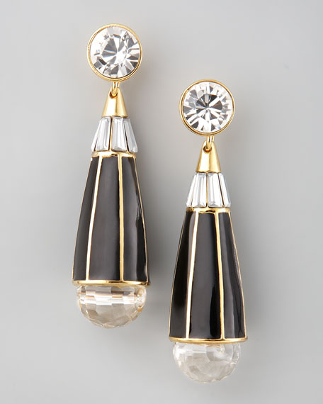 Teardrop Earrings, Black Quartz