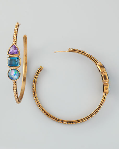 Triple-Stone Hoop Earrings