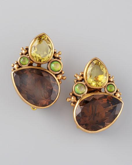 Quartz Cluster Clip Earrings
