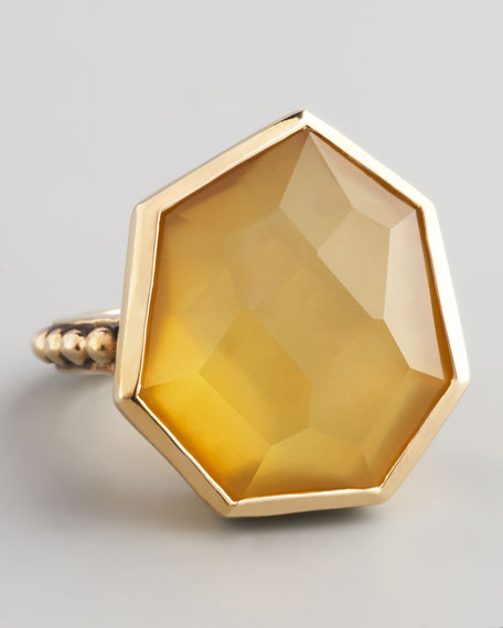 Yellow Agate Quartz Ring