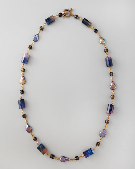 "Single-Strand Multi-Stone Necklace, 36""L"