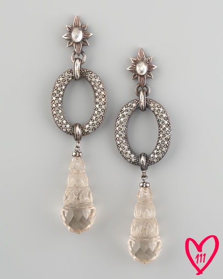 BG 111th Anniversary Carved Quartz & Diamond Drop Earrings