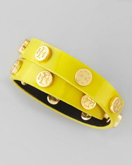 Logo-Studded Patent Wrap Bracelet, Green Amber