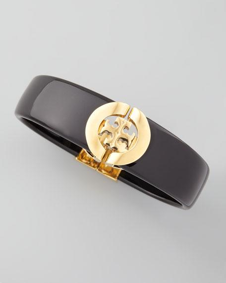 Logo-Hinge Enamel Bracelet, Black