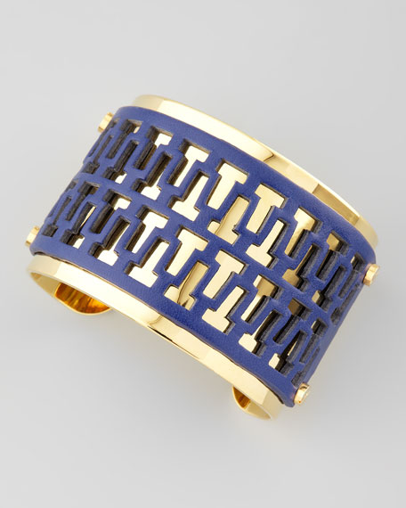 T-Perforated Leather Cuff, Blue