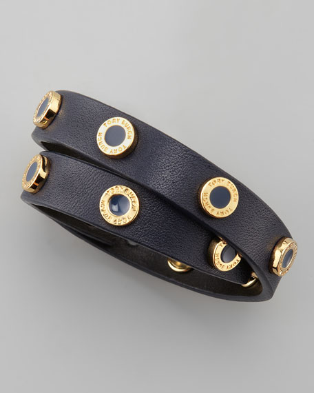 Cole Logo-Studded Leather Wrap Bracelet, Navy