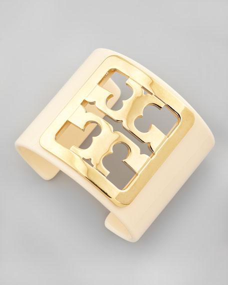 Enamel Framed Logo Cuff, Ivory