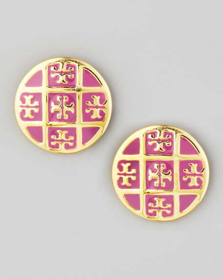 Enamel T-Logo Stud Earrings, Pink