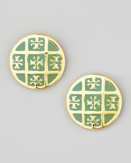Enamel T-Logo Stud Earrings, Green