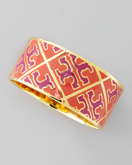 Enamel T-Pattern Bangle, Orange/Pink