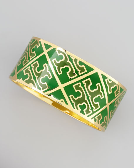 Enamel T-Pattern Bangle, Green