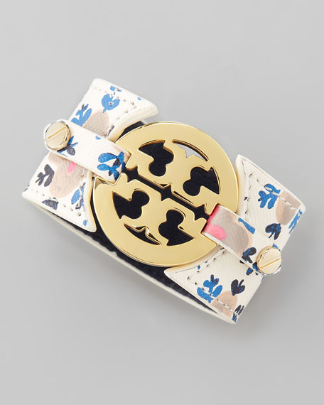 Printed Leather Logo Double-Snap Cuff, Wide