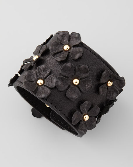 Flower-Embellished Bracelet, Black