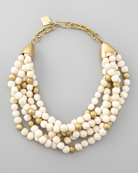 Mpira Braided-Bead Necklace, Light Horn