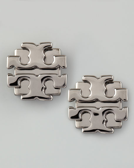 Large T-Logo Stud Earrings, Gunmetal