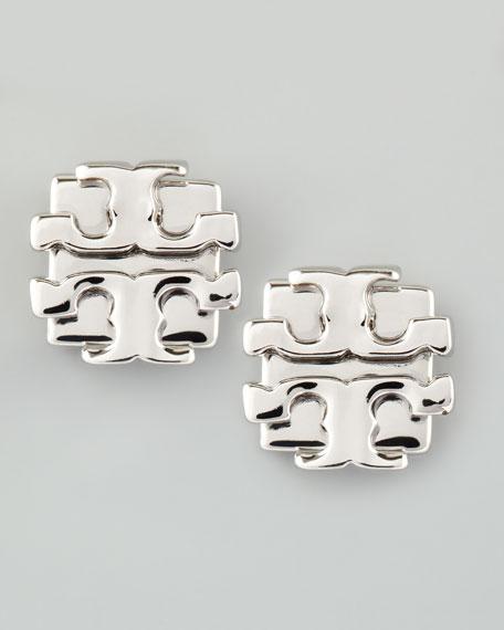 Small T-Logo Stud Earrings, Silvertone