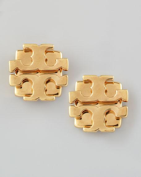 Small T Logo Stud Earrings Golden