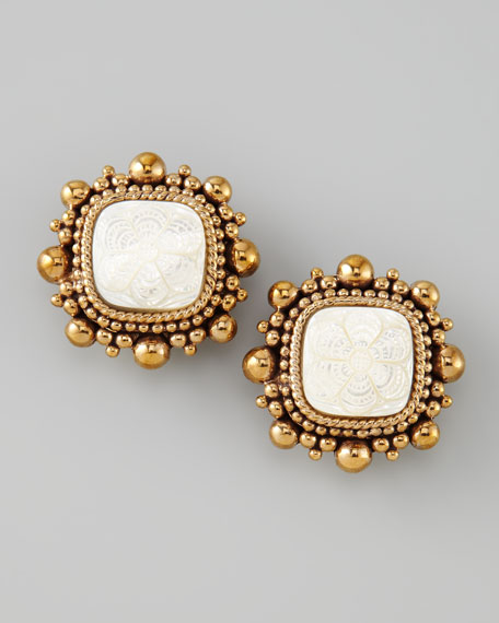 Floral-Carved Clip Earrings