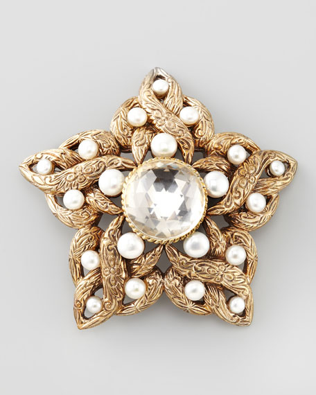 Pearl-Detailed Star Brooch, White