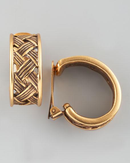 Basketweave Clip Earrings