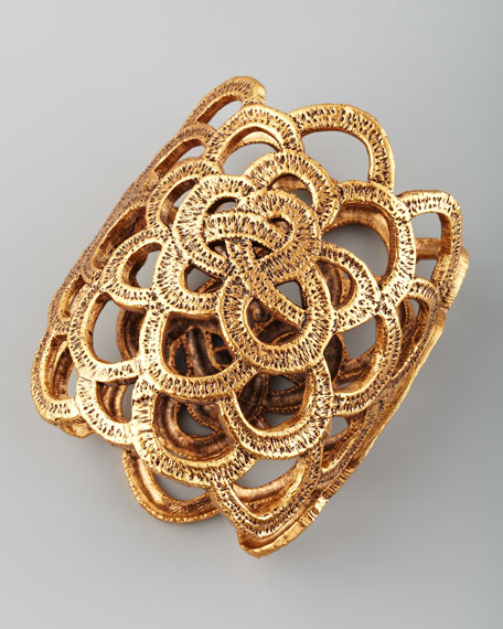 Looped Lace Cluster Cuff, Golden