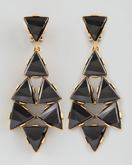 Triangle Cluster Clip Earrings, Black