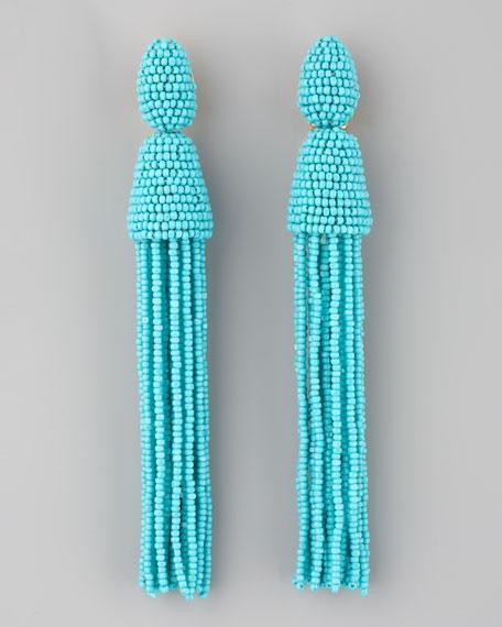 Oscar De La Renta Long Beaded Tassel Earrings Turquoise
