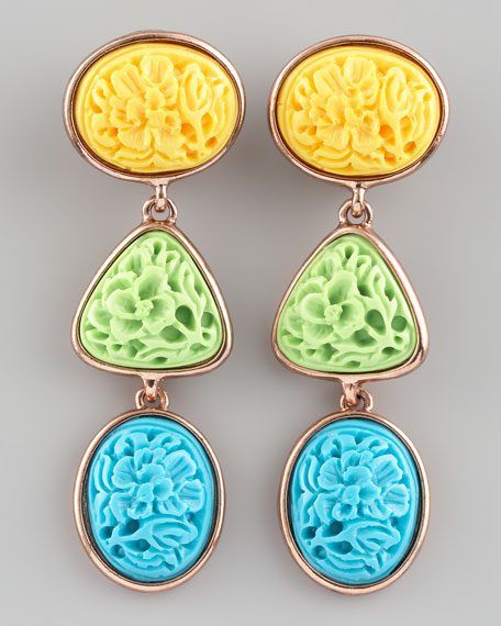 Carved Cabochon Earrings, Pastel