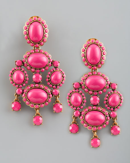 Cabochon Drop Clip Earrings, Fuchsia
