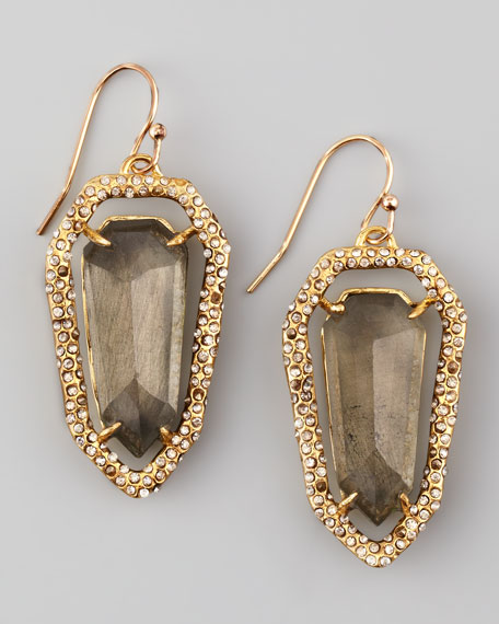 Encrusted Pyrite Shield Earrings