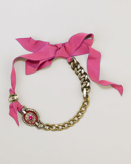 Chain Choker Ribbon Necklace, Pink