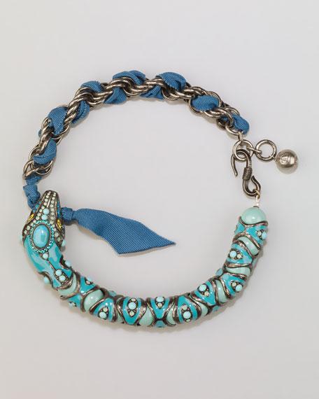 Enamel Snake Choker Necklace, Coral