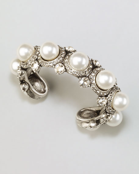 Pearl & Crystal Cuff, White